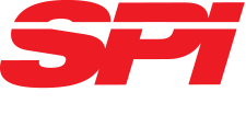Red and white logo for Surface Pumps, Inc.
